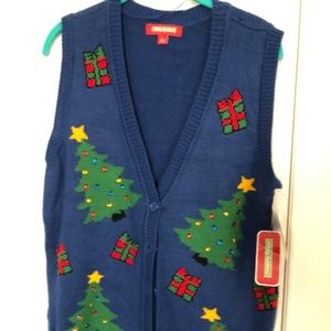 Sweaters - Ugly Christmas Tree Sweater Vest small in Women